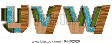 3D English Alphabet Fonts In Architect Texture Style (u V W Set)