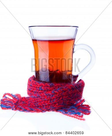 The Cup Of Tea Entwined With Scarf