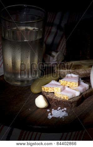 Sandwich With Salted Lard And Vodka