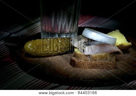Sandwich With Herring And Vodka