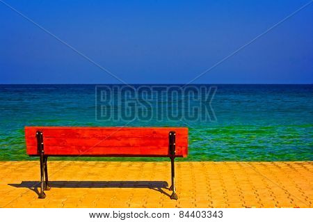 A Digitally Converted Painting Of A Lone Bench Overlooking The Sea