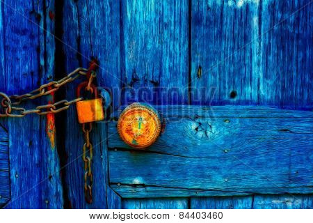 Padlocked Blue Wooden Door