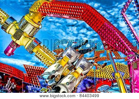 Digital Painting Of A Colouful Fairground Ride