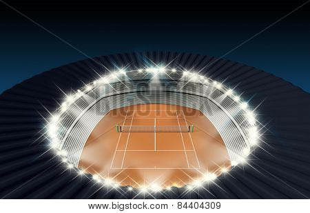 Clay Tennis Court At Night