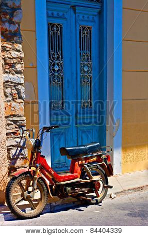 Digital Painting Of An Old Rusty Moped In A Rundown Greek Village
