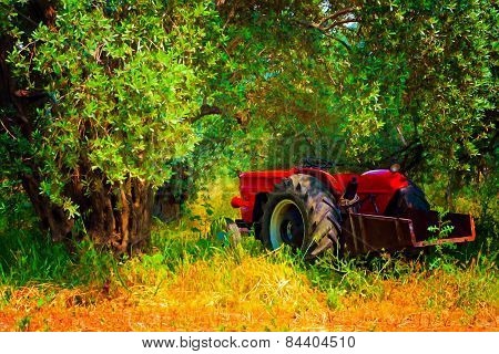 Digital Painting Of A Red Tractor In An Olive Grove