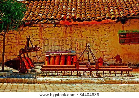 A Digitally Converted Painting Of Farm Machinery In A Turkish Village