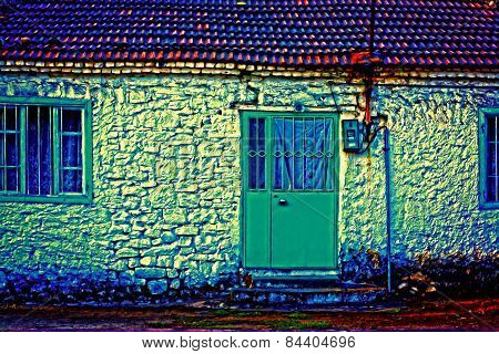 A Digitally Constructed Painting A Turkish Village House