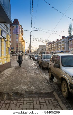 Winter Urban Street With Slush