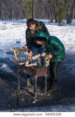 Traditional Russian Shashlik Barbecue In Winter