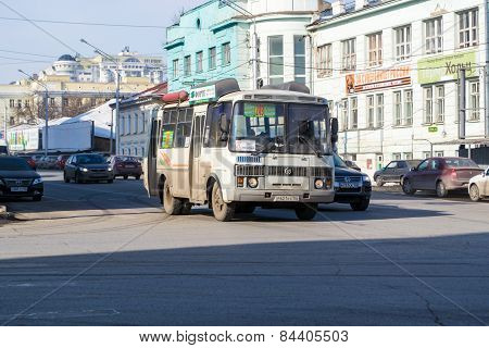 A Russian Bus In Motion