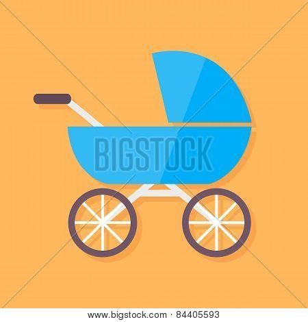 Child Buggy Flat Stylized Illustration
