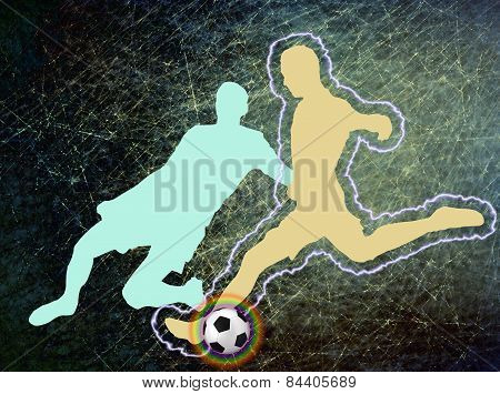 Football player kicking a ball, illustration. Two players.