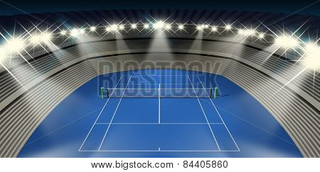 Hard Tennis Court At Night