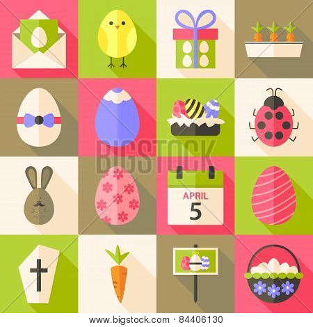 Easter Flat Styled Icon Set 4 With Long Shadow