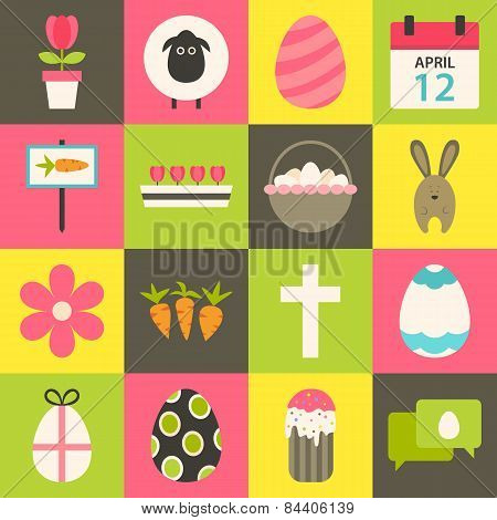 Easter Flat Stylized Icon Set 3
