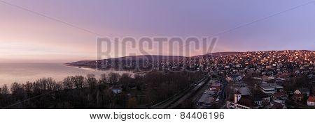 Sunrise By Balaton Lake. Balatonalmádi