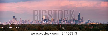 Sunset Panorama Of Chicago