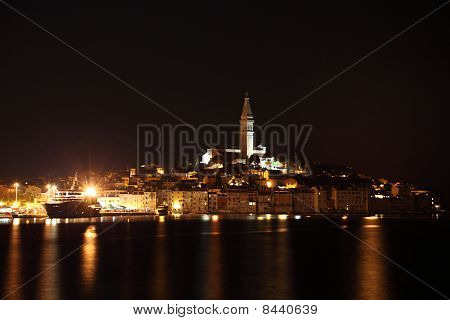 Old Town Of Rovinj At Night