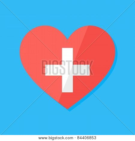 Medical Heart Flat Stylized Sign