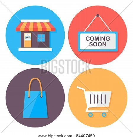 Shopping And Retail Flat Style Icons Set