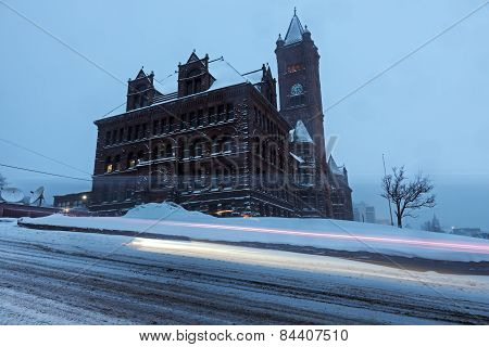 Duluth Architecture During Snow Storm