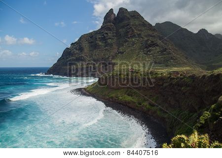 Rocky coast and mountain of Punta del Hidalgo of the Northern part of Tenerife