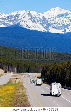 Rv And Buses On The Road In Banff National Park