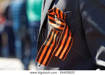 Saint George Ribbon On His Lapel
