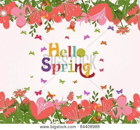 Hello Spring with flower vintage