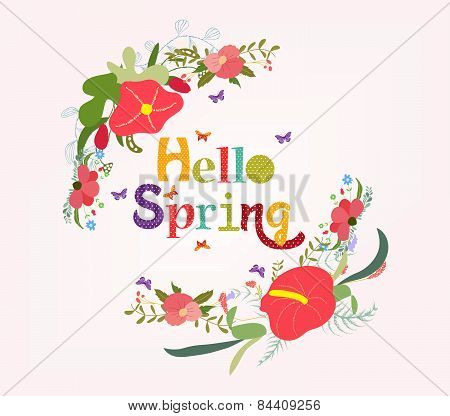 lettering Hello spring with flower element