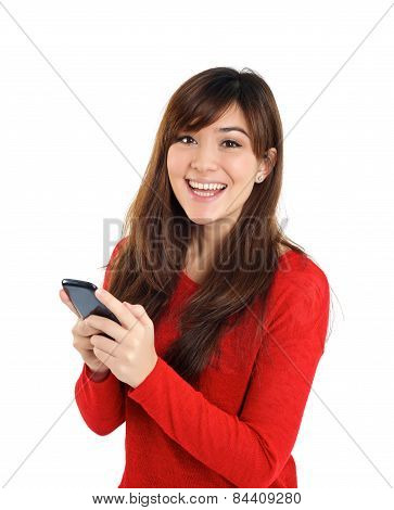 Smiling Girl Looking With Mobile Phone
