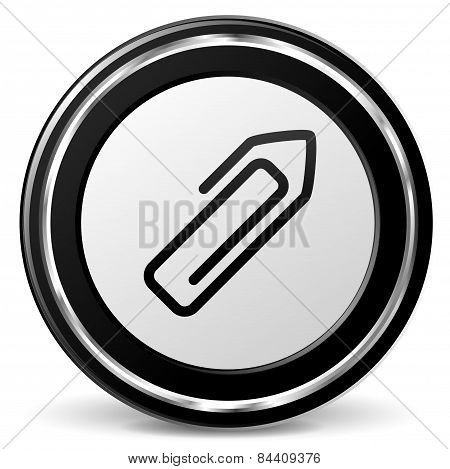 Paper Clip Icon With Metal Ring