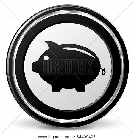Piggy Bank Icon With Metal Ring