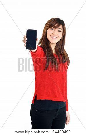 Asian Girl Holding Mobile Phone