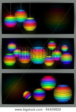 Banners With Colorful Transparent Spheres
