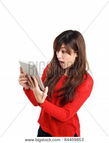 Surprised Asian Girl Holding Tablet