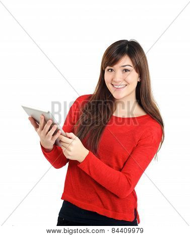 Looking Asian Girl Holding Tablet
