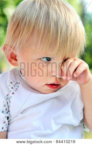 Sad Baby Boy Outdoor