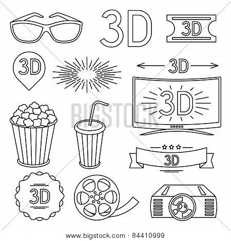 Set of movie design elements and cinema icons