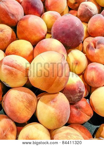 Fresh Peaches In A Market