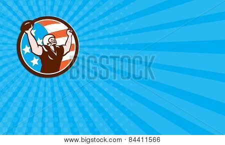 Business Card American Football Celebrating Touchdown Retro
