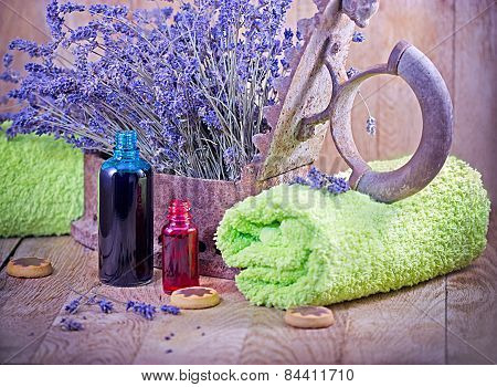 Lavender oil (essential oil) and lavender