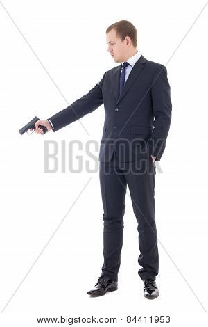 Man In Business Suit Shooting With Handgun Isolated On White