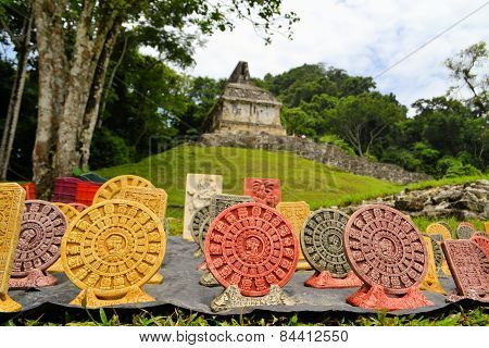 Souvenirs in front of a Mayan temple, Yucatan, Mexico