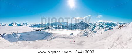 Panorama of Mountain Range winter Landscape at Meribel Skiing Resort in French Alps.