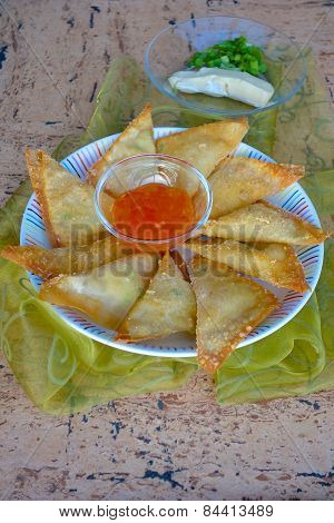 Brie Cheese Scallion Fried Wontons