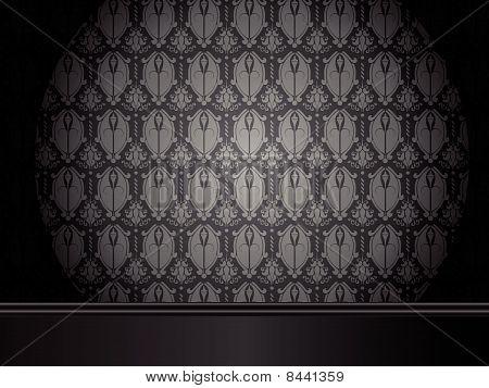Vektor - Vintage Zimmer mit Holzfußboden und seamless Wallpaper.