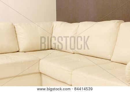 Modern White Corner Leather Sofa.