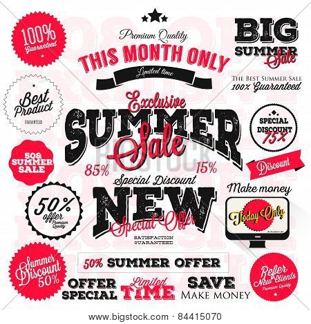 Set of vector summer sales labels and sticker design